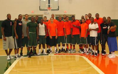 LeBron James (left) along with the UM team and other NBA players such as Chris Paul.  (Photo courtesy: UM sports media relations)